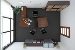 3D Interior rendering of an office - stock illustration