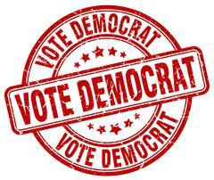 Vote democrat red grunge round vintage rubber stamp Stock Illustration