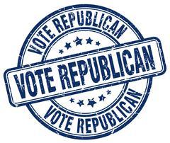 Vote republican blue grunge round vintage rubber stamp Stock Illustration