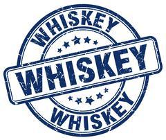whiskey blue grunge round vintage rubber stamp - stock illustration