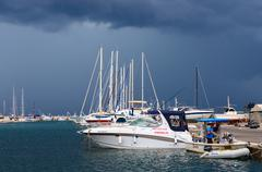 Port of town Bar in stormy weather in September, Montenegro Stock Photos