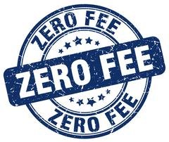 zero fee blue grunge round vintage rubber stamp - stock illustration