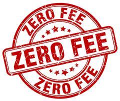 zero fee red grunge round vintage rubber stamp - stock illustration