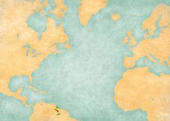 Map of North Atlantic - Guyana Stock Illustration