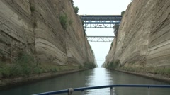 View of the Corinth Canal taken from the bow of a small boat Stock Footage