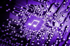 Music note on computer chip Stock Illustration