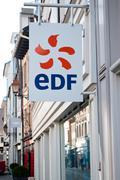 """retail of the logo of the brand """"EDF"""" - stock photo"""