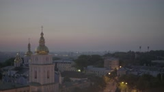 Kiev in the morning at dawn. St Michael's Cathedral. Architecture of Kiev. Stock Footage