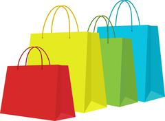 Set of Colorful Shopping Bags Isolated in White Piirros