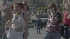 Lesson on dance aerobics in the city centre Stock Footage