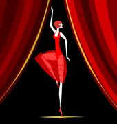 Dancing ballerina in red Stock Illustration