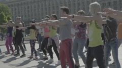 A group of people doing exercises in the morning Stock Footage