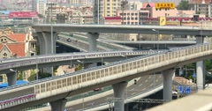 4k busy urban traffic on overpass,urban morden building,QingDao china. Stock Footage