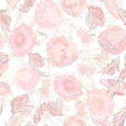 Romantic Soft Vector Floral Pattern Stock Illustration