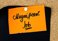 Magnificent Job written on orange paper note - stock photo