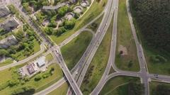 Cars, traffic on highway, freeway, road  junction, aerial view. Stock Footage