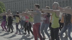 A group of people doing dance fitness Stock Footage