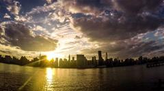 From sunset to night, panorama view of the manhattan skyline, New York, USA Stock Footage