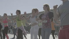 People do dance fitness on the street Stock Footage