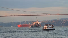 Complex sea traffic with an oil tanker ship, ferry, warship fight against stream Arkistovideo