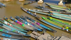 Many boats in Nyaung Shwe on Inle lake Stock Footage