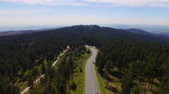 Aerial Flight Over German Mountains Down A Street Stock Footage