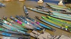 Many boats in Nyaung Shwe on Inle lake, timelapse Stock Footage