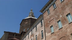 Tilt shot of Pavia Cathedral seen from Piazza Cavagneria, Italy Stock Footage