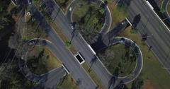 Aerial descending diagonally top down over intersecting roads in Brasilia Stock Footage