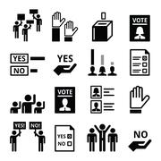 Democracy, voting, politics vector icon set Stock Illustration