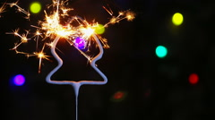 Burning sparklers in the form of a Christmas tree Stock Footage
