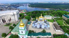 St. Michael's Cathedral in Kiev. Airview Stock Footage