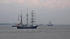 Tall ships at Bremerhaven coast while Sail exhibition Stock Footage