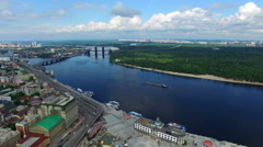 Wonderful aerial view of Kiev and the river Dnieper. Summer sunny day Stock Footage