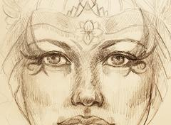 Mystic woman drawing with ornament, eye contact Stock Illustration