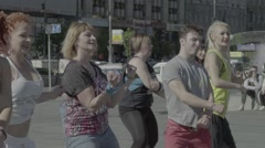 A group of people doing dance aerobics - stock footage