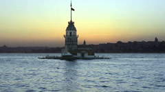 Istanbul Maiden Tower (kiz kulesi) at sunset - stock footage