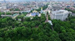 St. Michael's Cathedral and ministry of foreign affairs of Ukraine in Kiev. Airv Stock Footage