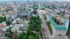 Beautiful view from the air to the central district of Kiev Stock Footage