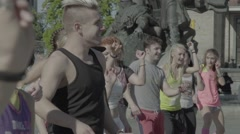 People do dance aerobics - stock footage