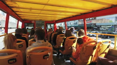 Tourists on trips in double decker sightseeing bus in Moscow Stock Footage