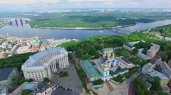 St. Michael's Cathedral and ministry of foreign affairs of Ukraine. Aerial Video - stock footage