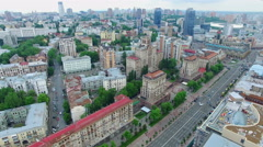 Aerial footage. The central street of Kiev - Khreshchatyk - stock footage