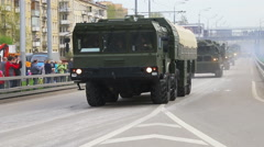 Russian modern military equipment is the city of Moscow Stock Footage