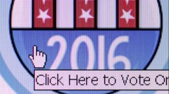 Online voting website with 2016 US Election banner - user clicks to vote Stock Footage