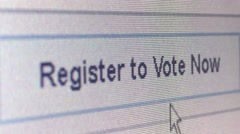 ECU of voter registration website banner, user moving arrow cursor and click Stock Footage