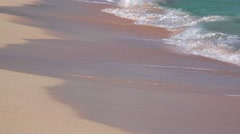 Sea surf at the pink fine sand beach Bermuda. Closeup Stock Footage