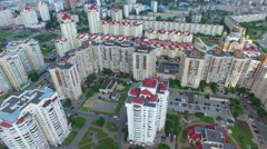 Residential district in Kiev. Summer day. Airview - stock footage