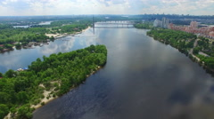 Beautiful river Dnieper River in Kiev. Summer sunny day. Airview Stock Footage