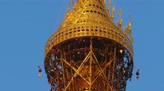 The top of Shwedagon pagoda in Yangon, Myanmar Stock Footage